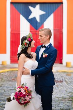 Puerto Rican flags are trending in PR. They're everywhere. But my favorite flag was the one pinned in Nejc's wedding suit. #flagception
