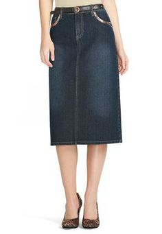Cato Fashions Belted Sequin Trim Denim Skirt - Plus #CatoFashions