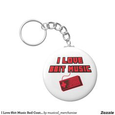 I Love 8bit Music Red Controller Digital Art Basic Round Button Key Ring