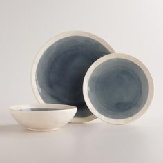 Featuring a dusty blue-gray reactive glaze in the center, this hearty dinnerware collection layers well with your existing assortment. >> #WorldMarket Dining & Entertaining