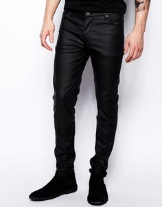 0866ce19229 ASOS Skinny Jeans In Leather Look at asos.com