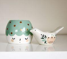 Girl and her bird/planter and tea light holder/Mint Green