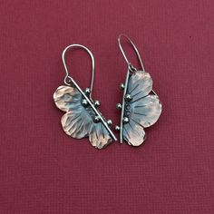 Copper and Sterling Silver Flower Earrings by DelightfulbyDesign