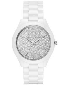 Michael Kors Women's Slim Runway White Ceramic Bracelet Watch 42mm MK3448