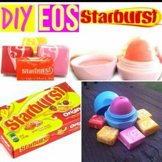 Hey guys it's Kayla! In today's video I show you how to make an amazing DIY Starburst EOS Lip Balm, that is SO moisturizing and just amazing! Homemade Lip Balm, Homemade Moisturizer, Edible School Supplies, Eos Lip Balm, Lip Balms, Candy Lips, Diy Lip Gloss, Lip Balm Recipes, Barbie