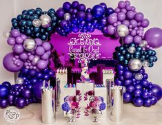 Okay let's get into my favorite part. We love any thing custom and getting the colors right was major for me. I know I drove my vendors… Purple Birthday, Unicorn Birthday Parties, Birthday Balloons, Birthday Party Themes, Birthday Ideas, Balloon Backdrop, Balloon Garland, Balloon Decorations, Galaxy Balloons