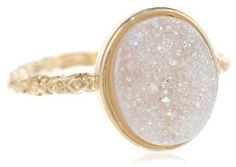 Dara Ettinger Oval Agate Druzy Gold, Halo Ring $75.00