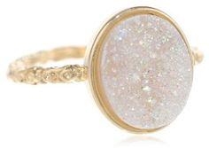 Dara Ettinger Oval Agate Druzy Gold, Halo Ring $75.00
