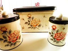 NC Colorware Canister Set With Roses Shabby Decor Pink by toparis, $22.00