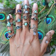 *~* Bohemian Fantasy Wire Wrapped Jewelry by Abbey Road Collection *~*Which one is your favorite?*~* Bohemian Fantasy Wire Wrapped Jewelry by Abbey Road Collection Copper Jewelry, Beaded Jewelry, Handmade Jewelry, Beaded Rings, Copper Wire, Wire Jewelry Designs, Jewelry Crafts, Fantasy Wire, Wire Jewelry Making