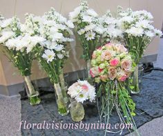Vases of flowers & #Bridal #Bouquet