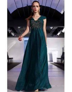 Sheath V-neck Cap Sleeves Beaded Peacock Green Prom/Evening Dress