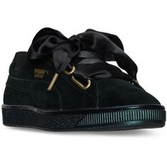 Puma Women's Suede Heart Satin Casual Sneakers from Finish Line ($80) ❤ liked on Polyvore featuring shoes, sneakers, black, black satin shoes, black shoes, black sneakers, black suede shoes and puma footwear