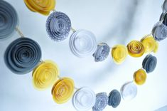 Paper Flower Garland Yellow and Gray Garland Party Decorations via Etsy