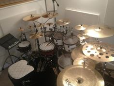 Josh's studio drums, being in drum line the first thing i think is, look at all those cymbals!
