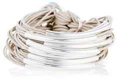 Silver Plated Tubes Bracelet, Beige on OneKingsLane.com