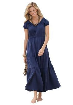 Dresses Women Only Plus Size Peasant Maxi Dress Love this casual but dressy look for curvy girls of all ages.