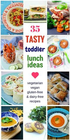 It can be quite a task to come up with new tasty toddler lunch ideas. It's too easy to get stuck in a repetitive loop of the same sandwich or toast served up every day. It gets just as boring for your little one as it does for you. 35 vegetarian, vegan, dairy-free and gluten-free recipes for kids and the whole family.