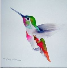 Watercolor painting of hummer