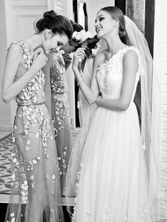A beautiful bride + her bridesmaid on her wedding day! Perfect Wedding, Dream Wedding, Wedding Day, Looks Cool, Looks Style, Brides And Bridesmaids, Bridesmaid Dresses, Wedding Bells, Wedding Gowns