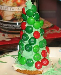 Christmas Tree made out of Waffle cone, cookie, frosting and M's. Cute as a decoration or as an activity/snack for kids.
