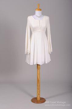 1960 Knit Boho Vintage Wedding Dress
