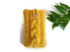 Yellow mustard Iphone 6 5 4 case Galaxy Samsung  smartphone cover knitted purse