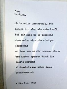 Sag mir ein Wort und ich schreib dir ein Gedicht. Wortfachgeschaeft @ Heuer am Karlsplatz. Inspirationswort: Unvernunft