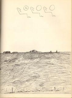 Airplane by Saul Steinberg. The New Yorker. Veja também: http://semioticas1.blogspot.com.br/2011/10/humor-romeno.html