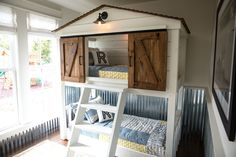 We built this custom bunk bed to look like a little treehouse. The Matsumotos' son loved it which made it so much fun for us!