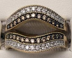 10kt Yellow Gold Champagne And White Round Diamonds Solitaire Enhancer Ring Guard Wrap (0.56ct. tw)...(RG221627345610).! Price: $719.99 #14kt #gold #diamonds #ringguard #wrap #enhancer #fashion #jewelry #love #gift