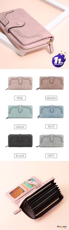 US$18.90+Free shipping. 0907-0910 Lower Price~  Lady Wallet Purse, Long Wallets,  8 Card Slots, 8 Currency Pockets, 2 Photo Holders, 4 Note Pockets. Color: Black, Blue, Brown, Green, Grey, Pink. Shop now!