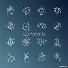 Vector: Brain and mind icons Logo Design Inspiration, Icon Design, Brain Icon, Brain Logo, Doodle Art Journals, Typographic Logo, Grafik Design, Book Cover Design, Design Elements