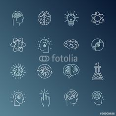 Vector: Brain and mind icons