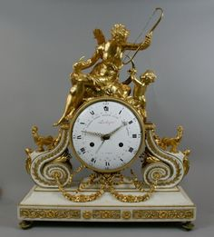 Rare Louis XVI Ormolu And Marble Clock With unusually Large Dial And Movement By Lechopie' a' Paris - France  c. Louis XVI