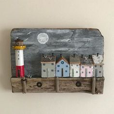 Dusk wall plaque #shabbydaisies #shabbychic #driftwoodart #rusticart #handmade #lighthouse #lighthouse #nautical #harbour #art#seaside