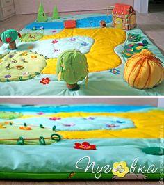 """Brinquedos educativos artesanais.  Esteira do jogo infantil """"Farm"""".  Botões.  Loja de Mestres Fair on-line.  Farm, almofada, rio"""