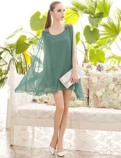 Elegant Bead Epaulet Embellished Solid Color Sleeveless Loose Fit Women's Chiffon Dress