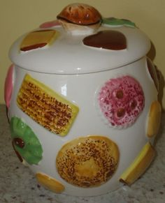 Vintage cookies all around cookie jar $95.00  www.jazzejunque.com