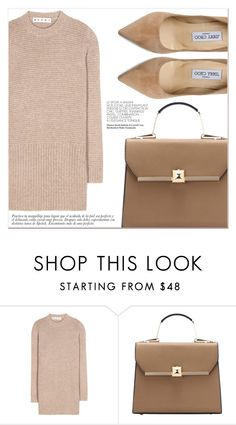 """Beige Look"" by lucky-1990 ❤ liked on Polyvore featuring Marni and Jimmy Choo"