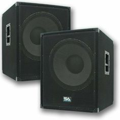 """Seismic Audio - Enforcer II - Pair of PA 18"""" Subwoofer Speaker Cabinet by Seismic Audio. $599.99. Pair of Chest Thumping 18"""" Subwoofer CabinetsModel - Enforcer (Pair)Subwoofer - 18""""120 oz magnet4"""" Voice Coil1000 Watts RMS - 2000 Watts PeakWired at 8 ohms45Hz - 2KHzSensitivity: 101 db5/8 PlywoodBlack carpet with black metal cornersRecessed Metal handles Metal Speaker Pole Mount on TopMetal Jack Plate with two 1/4"""" & two Speakon inputsCan be Daisy Chained28"""" tall - 22..."""