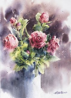 watercolor flowers Lin Ching Che