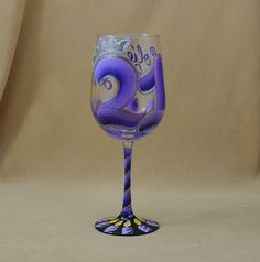 21st Birthday Personalized Wine Glass Hand Painted in shades of Purple with Glitter, $29.95 (http://www.bybecca.com/21st-birthday-purple-with-glitter-Personalized-Hand-Painted-Wine-Glass/)