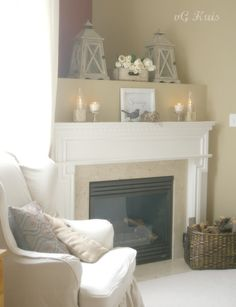 Pretty fireplace/mantle treatment.