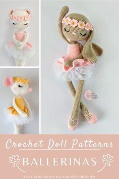 Crochet Ballerina Doll Pattern Pack, 3in1   14,5 inches - 37cm Doll Amigurumi Doll Pattern, Bunny, Rabbit, Cat, Mouse Ballerina Crochet Doll Pattern Pack, 3in1, 14,5 inches - 37cm Doll Amigurumi Doll Pattern, Rabbit, Cat, Mouse *Rabbit, *Cat, *Mouse, *The patterns are written in English.