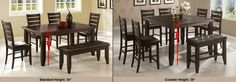 Counter height vs. Standard vs. Bar height table Comparison Guide      A Standard Height Table measures between 28″- 30″ Tall. Standard Height Examples     A Counter Height Table measures between 34″- 36″ Tall. Counter Height Examples     A Pub or Bar Height Table measures between 40″ – 42″ Tall. Bar Height Examples Kitchen Dinning Room, Kitchen Seating, Cabinet Furniture, Diy Furniture, Table Measurements, Counter Height Table, Home Kitchens, New Homes, Interior Design