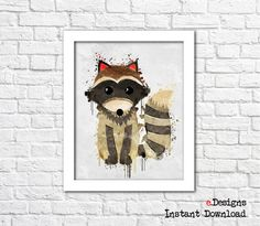 Printable Kids Poster Raccoon Watercolor Woodland by eDesignss Kids Poster, Bathroom Wall Decor, Woodland, Kids Room, Moose Art, Teddy Bear, Printables, Watercolor, Toys