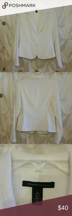 Kenneth Cole NY jacket White, 3 faux pockets on the front, two button, and fully lined. Excellent condition Kenneth Cole Jackets & Coats
