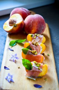 peaches, parma and pistachios recipe