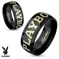 West Coast Jewelry Playboy Laser Etched Black IP Stainless Steel... ($13) ❤ liked on Polyvore featuring jewelry, rings, jewelry & watches, stainless steel jewelry, band rings, west coast jewelry, unisex jewelry and etched ring
